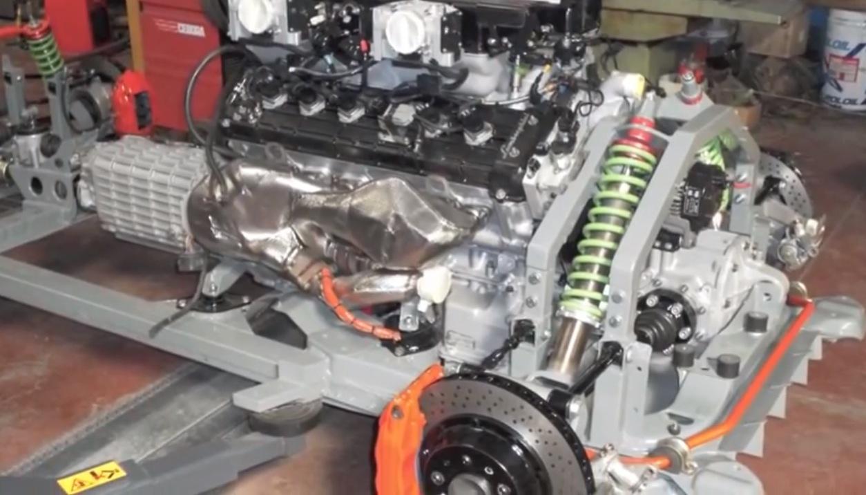 Fiat 500 with a Lamborghini V12 engine (video