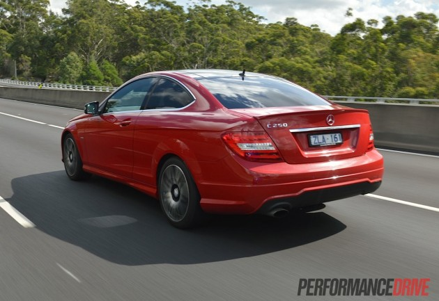 2013 Mercedes-Benz C 250 Coupe Sport Fire Opal red rear