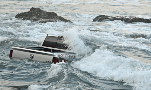Ram Power Wagon thinks it's a yacht, gets snagged on rocks