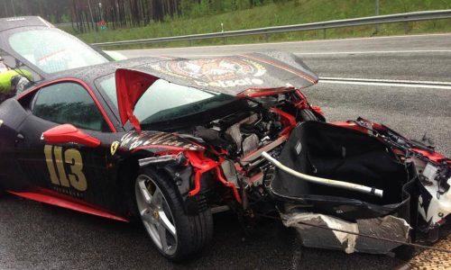 Ferrari 458 crashes during Gumball 3000 rally