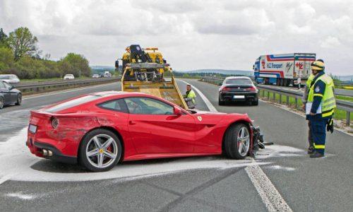 Ferrari F12 crash on German autobahn, car just three weeks old