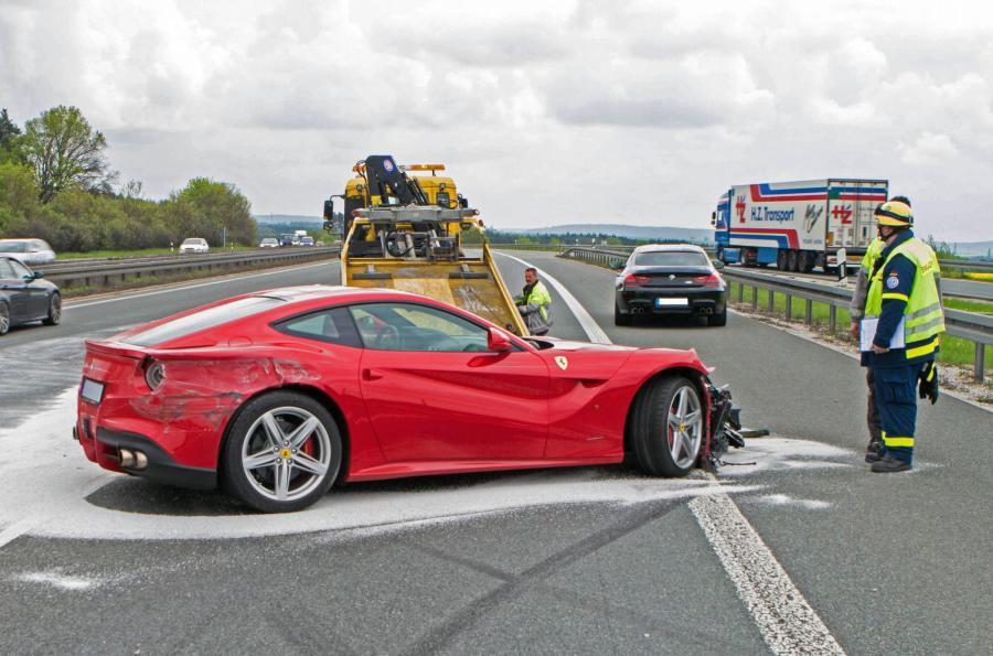 Ferrari F12 Crash On German Autobahn Car Just Three Weeks Old