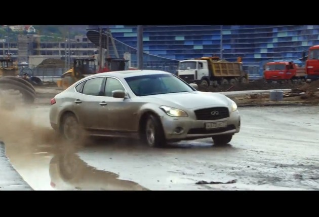 Vettel and Coulthard at unfinished Russian F1 circuit
