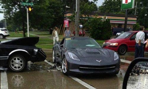2014 Chevrolet Corvette Stingray test car crashed