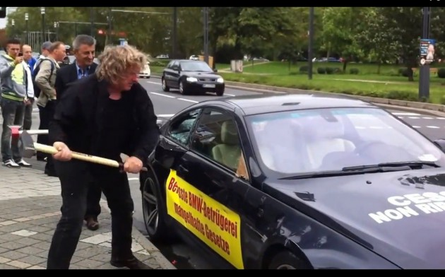BMW M6 beat up protest