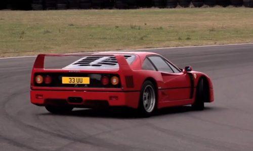 Chris Harris drifts the Ferrari F40 and Ferrari F50