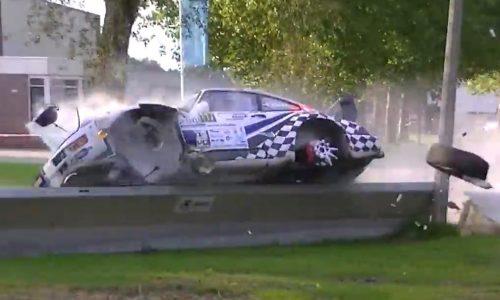 Brutal Porsche 911 crash during Hellendoorn Rally