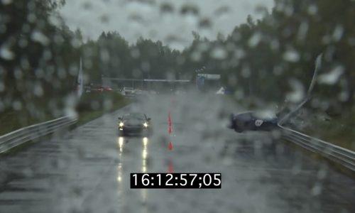 Video: Huge Nissan GT-R crash in wet drag race, driver ok