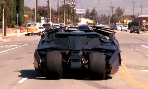 Jay Leno drives Batman's Tumbler