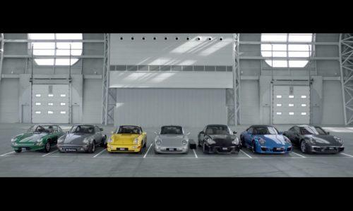 Seven Porsche 911s sing 'happy birthday', celebrating 50 years