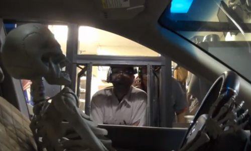 Skeleton drive-thru prank is a crack up