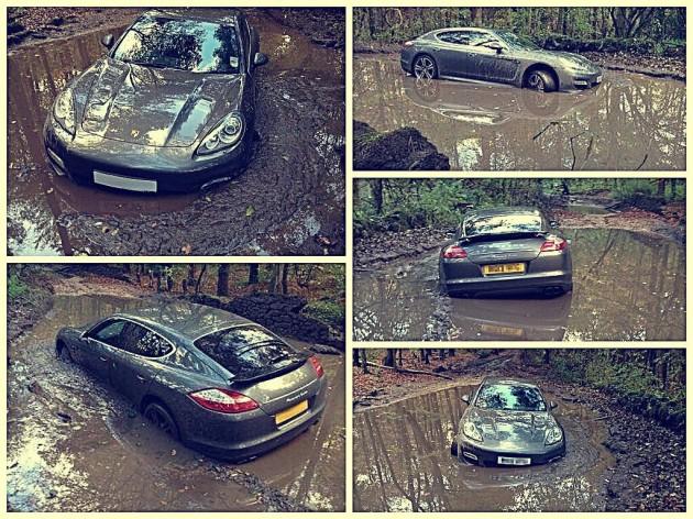 Andre Wisdom Porsche Panamera mud bog