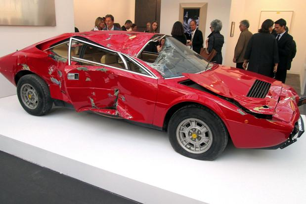 Ferrari Dino crashed FIAC art