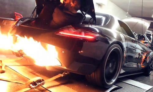 850hp Mercedes-Benz SLS shoots mega flames