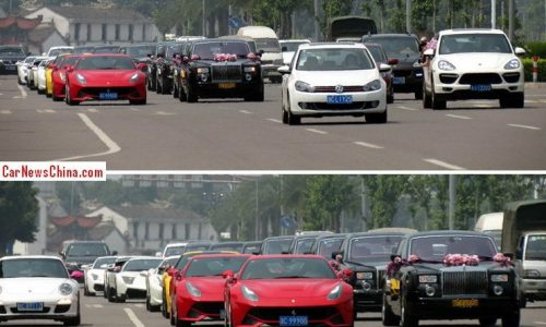 25-car wedding convoy in China made up of supercars