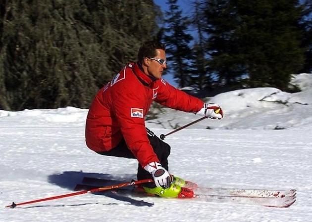 Michael Schumacher skiiing