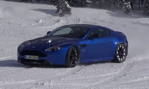 Aston Martin V12 Vantage drifting in the snow