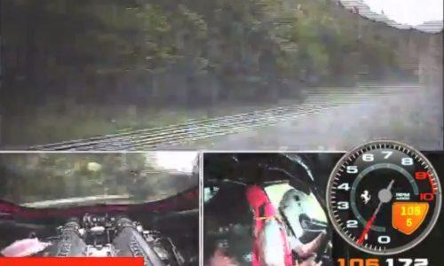 Scary Ferrari 458 crash at the Nurburgring at 220km/h