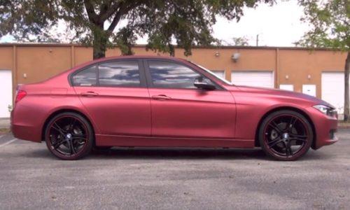 Red Rum Plasti Dip BMW 3 Series looks cool