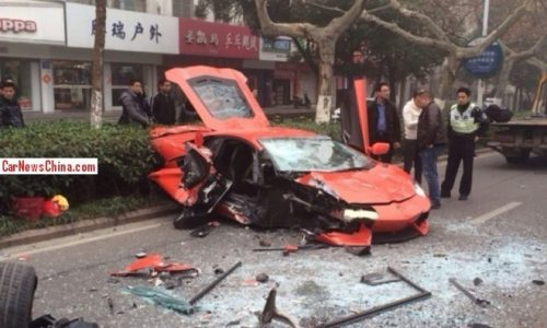 Lamborghini Aventador wrecked in head on crash in China