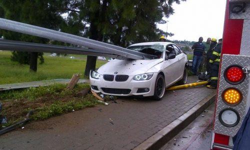 BMW 335i gets speared in crash, driver survives