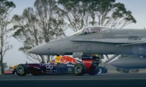 Red Bull F1 RB7 takes on F/A Hornet fighter jet
