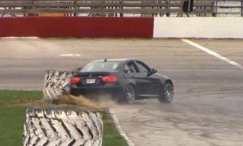 BMW M3 E90 crashes into a massive truck tyre