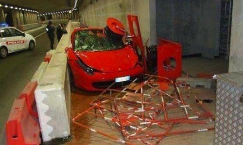Ferrari 458 crashes in famous Monte Carlo tunnel