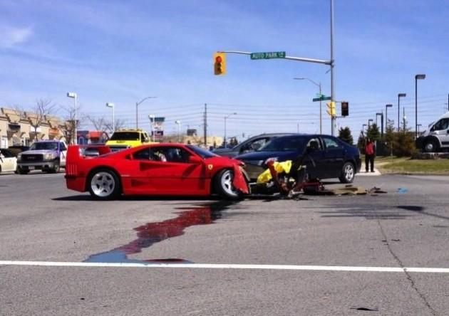Ferrari F40 crash with Dodge Dart-Canada