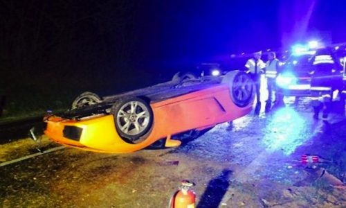 Lamborghini Gallardo Spyder rolled by mechanic on test drive