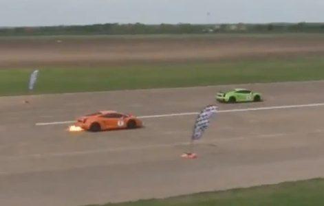 Two 1800hp Lamborghini Gallardos race, one catches fire