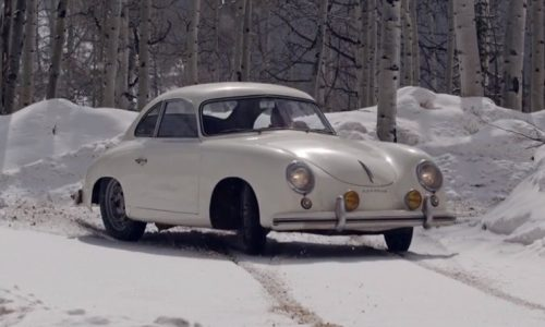 Jeff Zwart playing in the snow with his Porsche 356