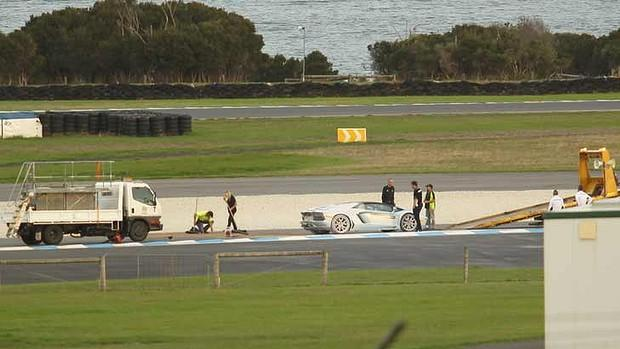 Lamborghini Aventador Roadster fire Phillip Island