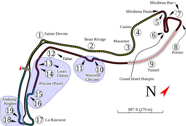 Monte Carlo Formula One track map