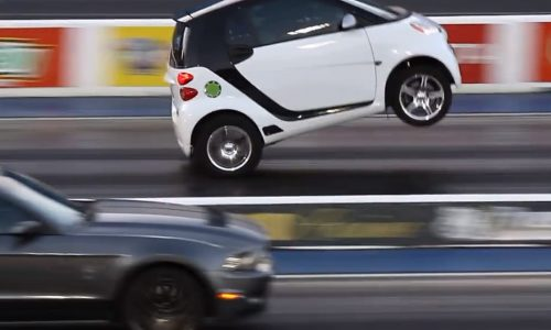 Smart Fortwo with Toyota engine conversion does wheelies