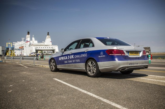 Mercedes-Benz E 300 BlueTEC Hybrid Africa to UK-harbour