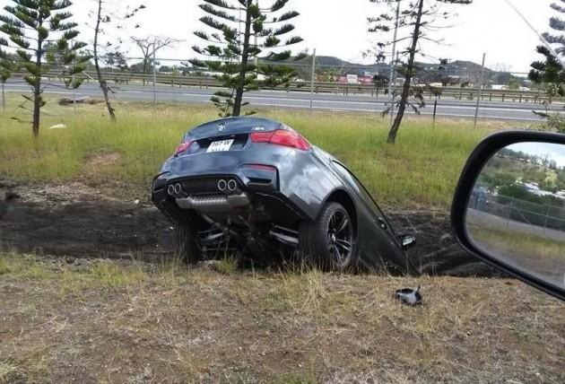 BMW M4 crash ditch