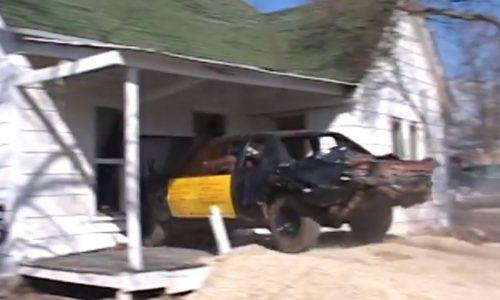 Crash derby car vs former meth lab house