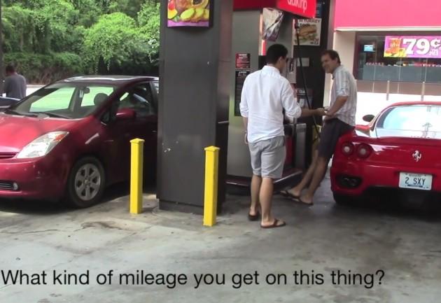 Ferrari 360 at petrol station