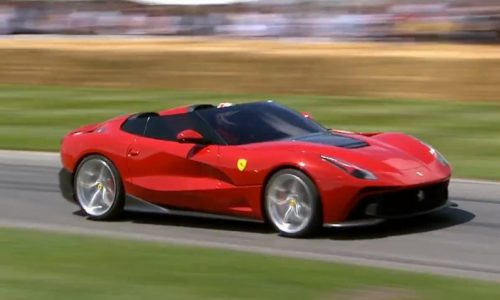 Ferrari F12 TRS making its spectacular run at Goodwood