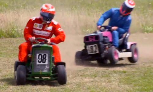 Kimi Raikkonen participates in a ride-on lawn mower race