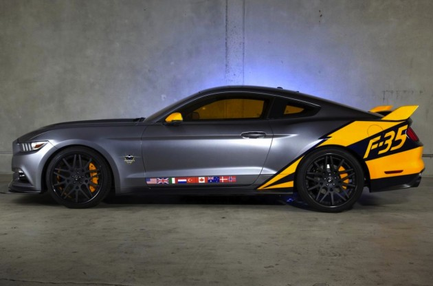 Lockheed Martin F-35 Lightning 2015 Ford Mustang-side