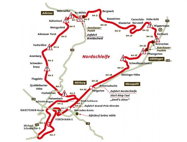 Nurburgring Nordschleife with F1 track-map