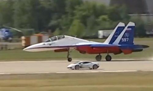 Lamborghini Huracan vs Sukhoi Su-27 jet fighter