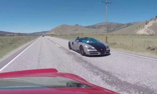 Being overtaken by six Bugatti Veyrons