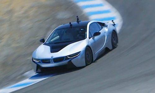 BMW i8 does 'hot lap' around Laguna Seca