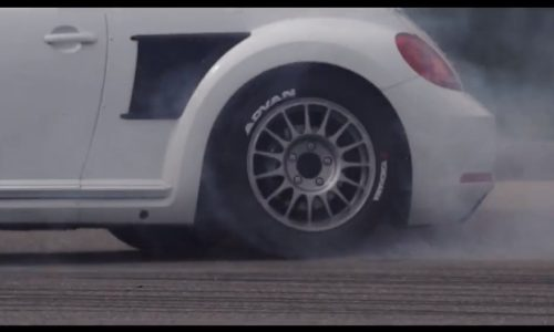 Tanner Foust tears up the tarmac in the VW Beetle GRC