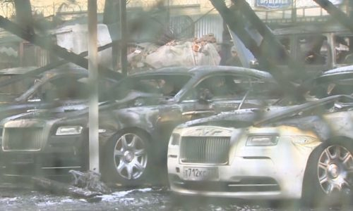 $3.3m in high-end cars burnt to a crisp in Russia, possible arson attack