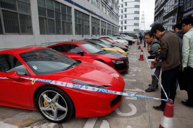 12 supercars seized in China