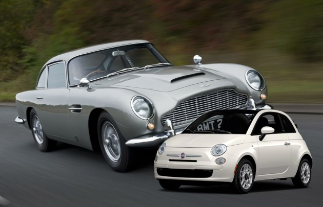 Aston DB5 and Fiat 500